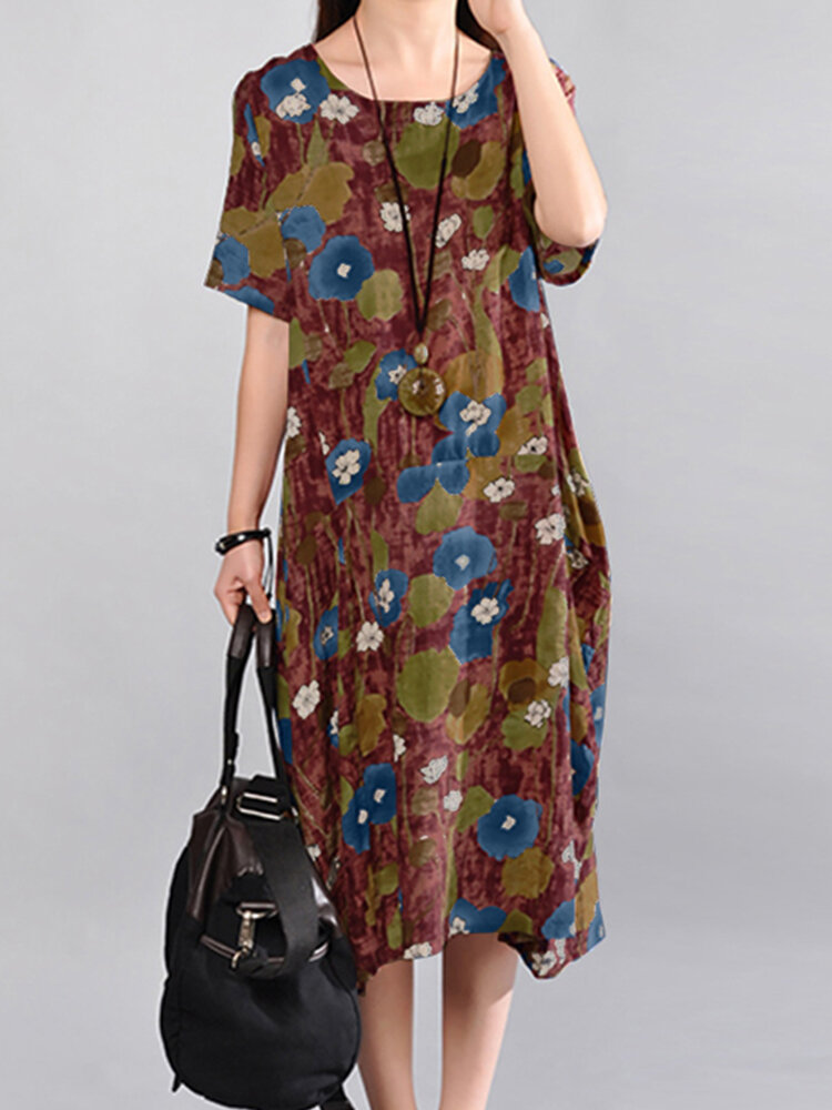 Flowers Print O-neck Plus Size Casual Dress