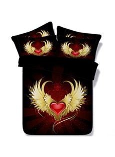 Luxurious Heart with Golden Wings Print Black 5-Piece Comforter Sets