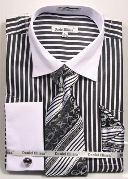 Men's 2 Tone French Cuff Black Dress Shirt White Collar Big&Tall Sizes