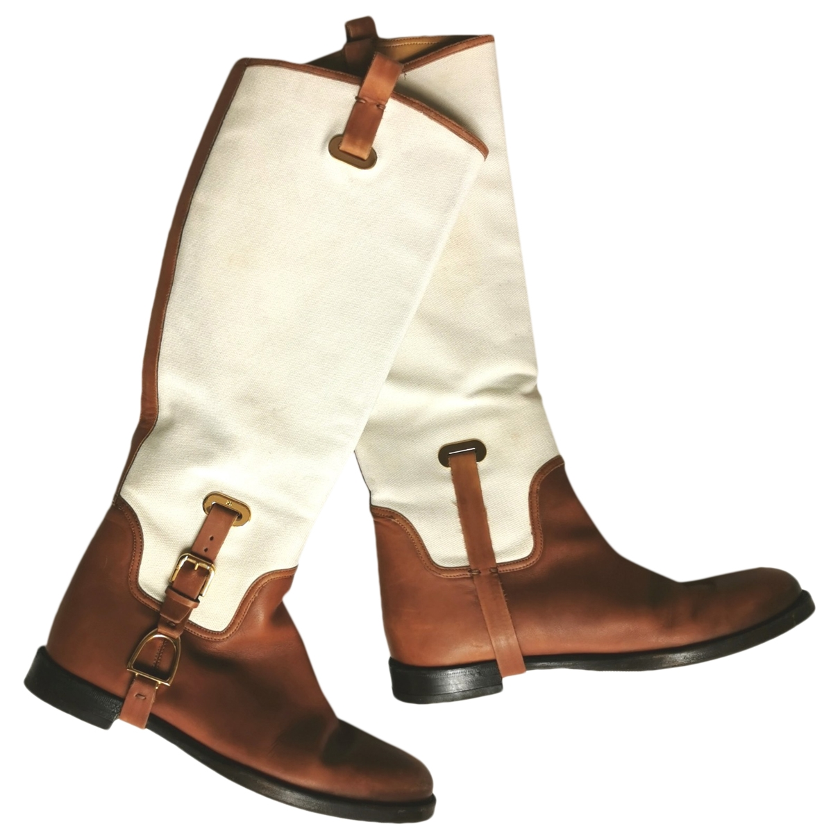 Ralph Lauren \N White Leather Boots for Women 6 US