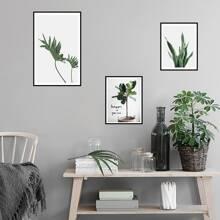 3pcs Plants Print Wall Sticker