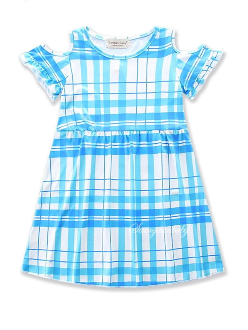 Ericdress Off-shoulder Geometric Print Girls' Dress