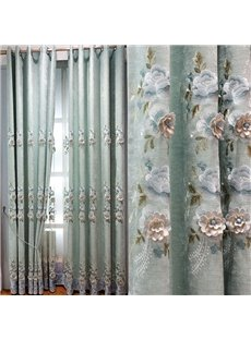 European Elegant Delicate Solid Embroidered Flowers 2 Panels Custom Chenille Curtains for Living Room Bedroom