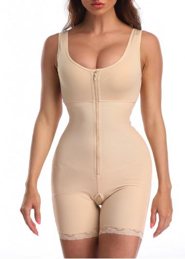 Womens Body Shaper Shapewear Waist Trainer Lace Panel Skin Color Shapewear Bodysuit - L