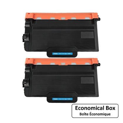 Compatible Brother TN880 cartouche de toner noire extra haute capacite 2 paquet - boite economique