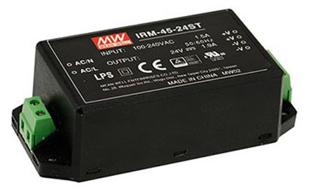 Mean Well , 45.6W Encapsulated Switch Mode Power Supply, 24V dc, Encapsulated