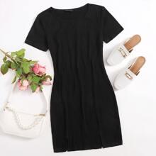 M-slit Hem Rib-knit Dress