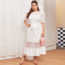 Plus Puff Sleeve Self Belted Lace Overlay Dress