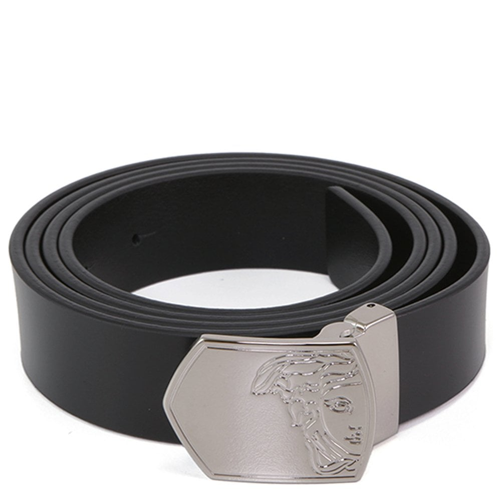 Versace Collection Leather Half Medusa Belt Black Colour: BLACK, Size: 36 30