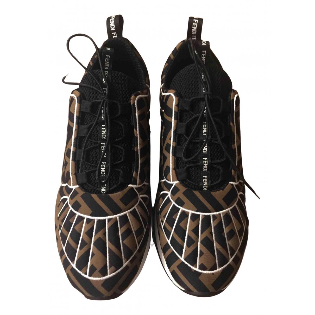 Fendi - Baskets   pour femme en toile - marron
