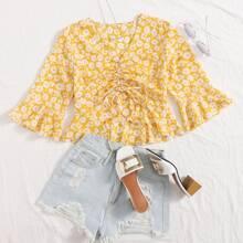 Crop Bluse mit Blumen Muster und Kordelzug vorn