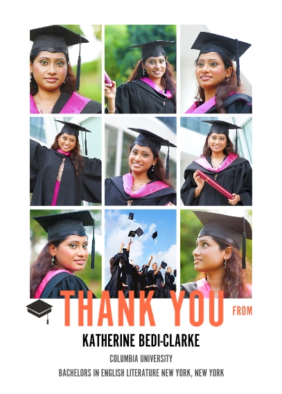 Graduation Thank You Cards Mail-for-Me Premium 5x7 Folded Card , Card & Stationery -The Grad Event Squares Thank You