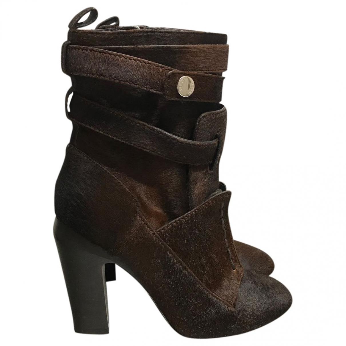 Fendi - Boots   pour femme en veau facon poulain - marron