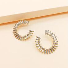 1 par pendientes de aro grabados con diamante de imitacion