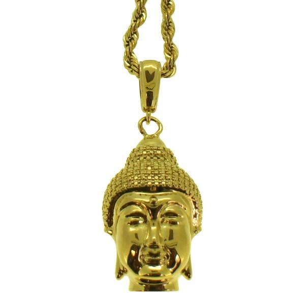 Gold 3D Buddha Head Pendant & Rope Chain
