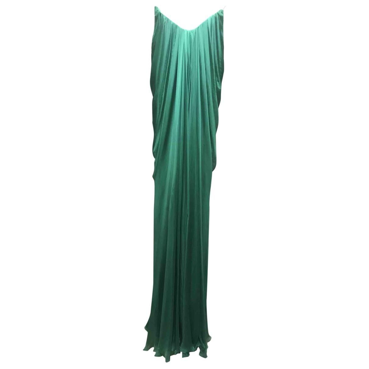 Alexander Mcqueen \N Green Silk dress for Women 42 IT