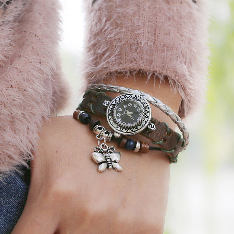 Vintage Cow Leather Bracelet Watch Three-Layer Adjustable Butterfly Unisex Quartz Watch