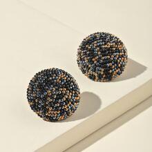 Beaded Round Stud Earrings