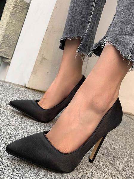 Milanoo Women's High Heels Pointed Toe Stiletto Heel Chic Black Pumps