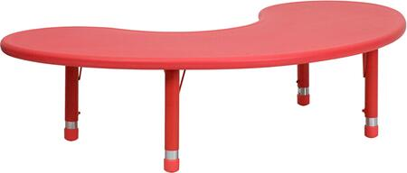 YU-YCX-004-2-MOON-TBL-RED-GG 35''W x 65''L Height Adjustable Half-Moon Red Plastic Activity