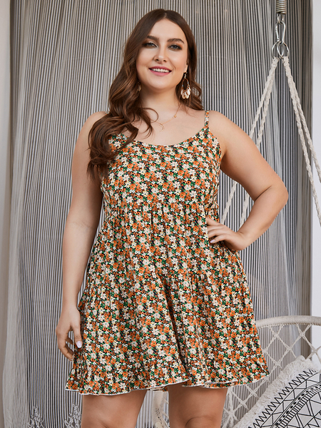 Yoins Plus Size Scoop Neck Calico Backless Design Sleeveless Dress
