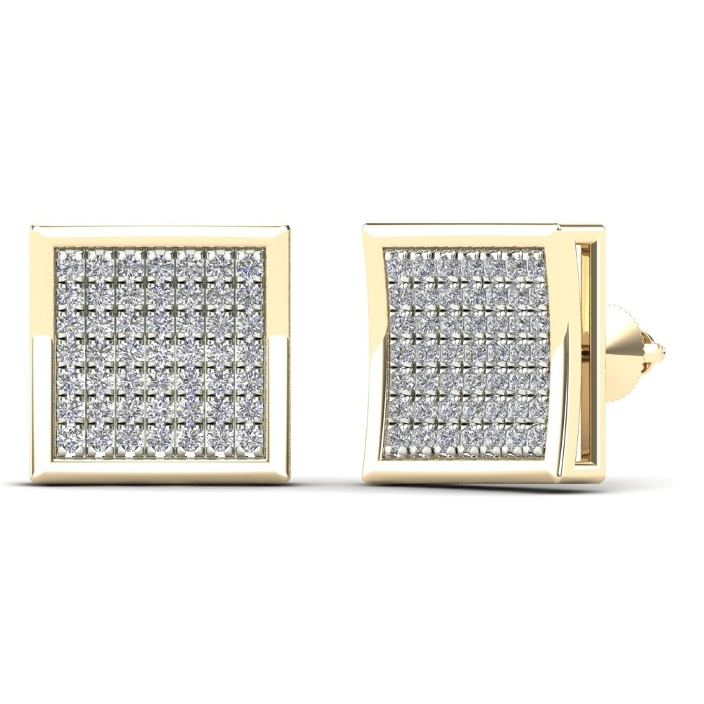 AALILLY Men's 14k Yellow Gold 1/3ct TDW Diamond Square Stud Earrings (H-I, I1-I2)
