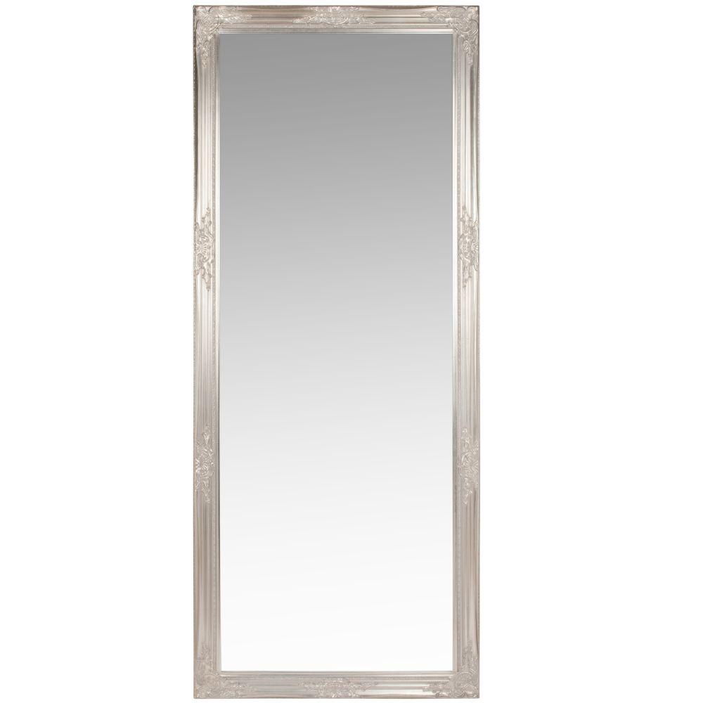 Spiegel mit Rahmen aus silberfarbenem Paulownienholz 80x190