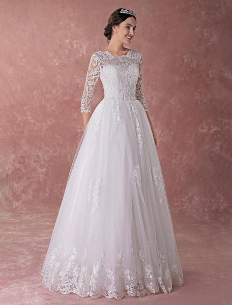Milanoo Vestidos de novia Princesa Ball Gowns encaje de manga larga rebordear apliques piso de longitud vestido de novia de lujo