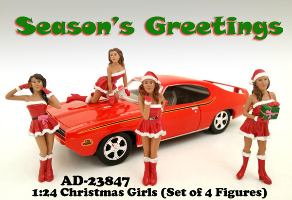 Christmas Girls 4 pieces Figure Set for 124 Scale Diecast Model Cars by American Diorama