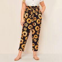 Ubergrosse Hosen mit Sonneblume Muster