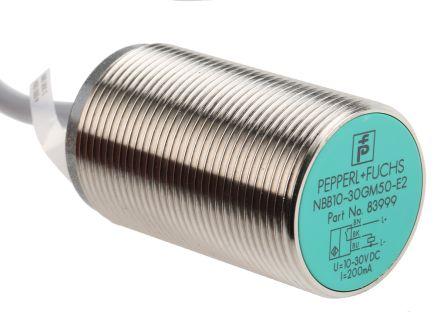Pepperl + Fuchs M30 x 1.5 Inductive Sensor - Barrel, PNP-NO Output, 10 mm Detection, IP67, Cable Terminal