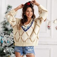 Argyle Pattern V Neck Sweater