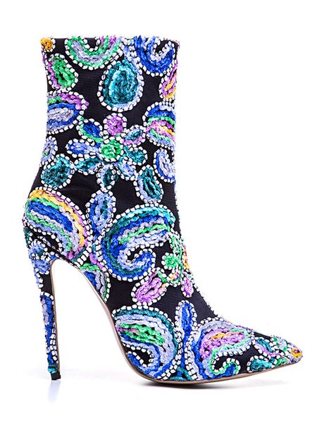 Milanoo Women Ankle Boots Pointed Toe Embroidered Artwork Stiletto Heel 4.7 Booties