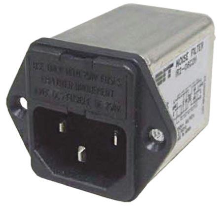 Roxburgh EMC ,2A,250 V ac Male Panel Mount IEC Filter RIR202C2H,Tab 2 Fuse