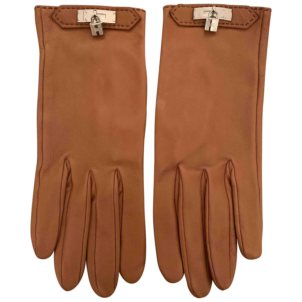 Hermes - Gants   pour femme en cuir - marron
