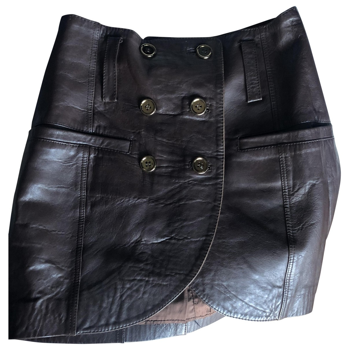 Non Signé / Unsigned \N Brown Leather skirt for Women 38 FR