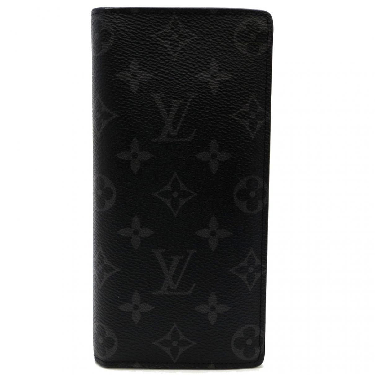 Louis Vuitton - Petite maroquinerie Brazza pour homme en toile - noir