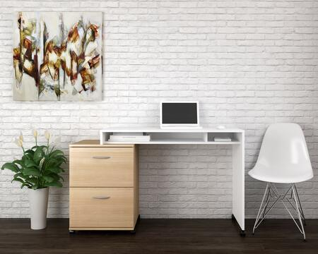 400930 Essentials 2 Piece Home Office Set with Reversible Desk + Filing Cabinet  in White Melamine And Natural Maple