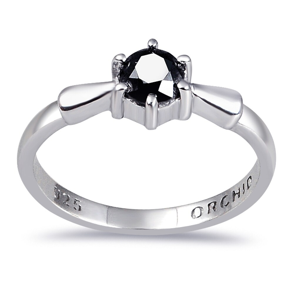Diamond Sterling Silver Round Band Rings by Diacrown (Black - 6)