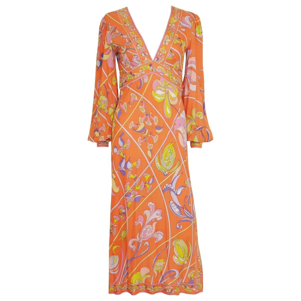 Emilio Pucci - Robe   pour femme en soie - orange