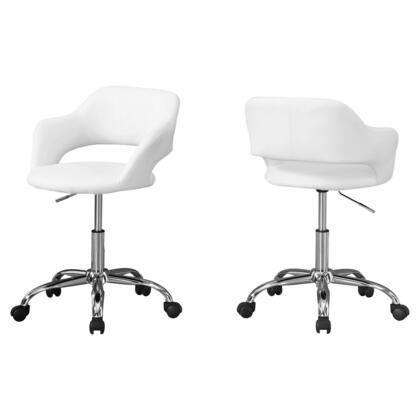 I 7299 Office Chair - White / Chrome Metal Hydraulic Lift