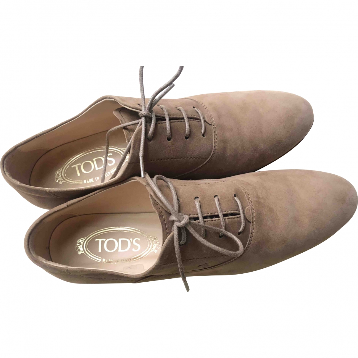 Tod's \N Beige Suede Lace ups for Women 37.5 EU