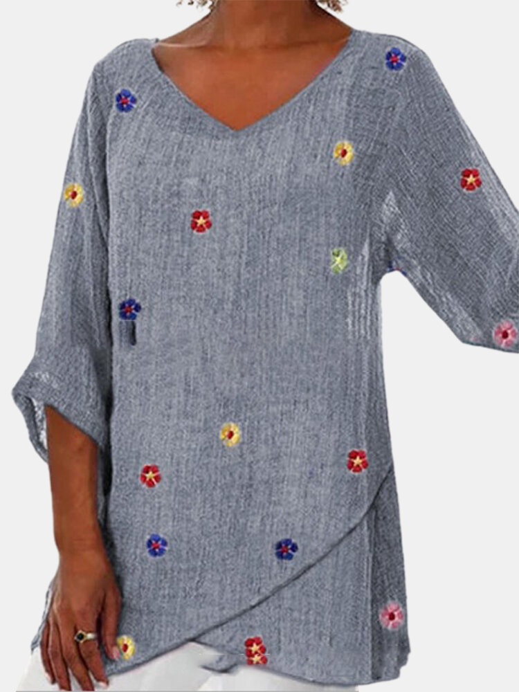 Colorful Flower Print Irregular 3/4 Sleeve Blouse For Women