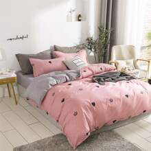Heart & Crown Print Bedding Set Without Filler