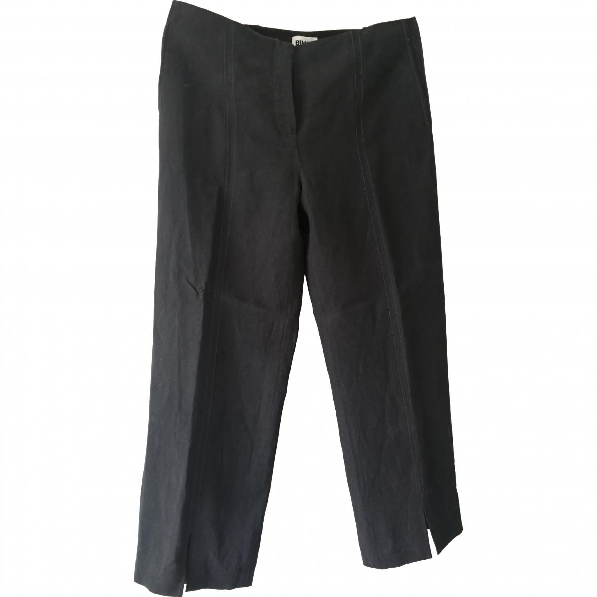 Bimba Y Lola \N Grey Linen Trousers for Women 42 FR