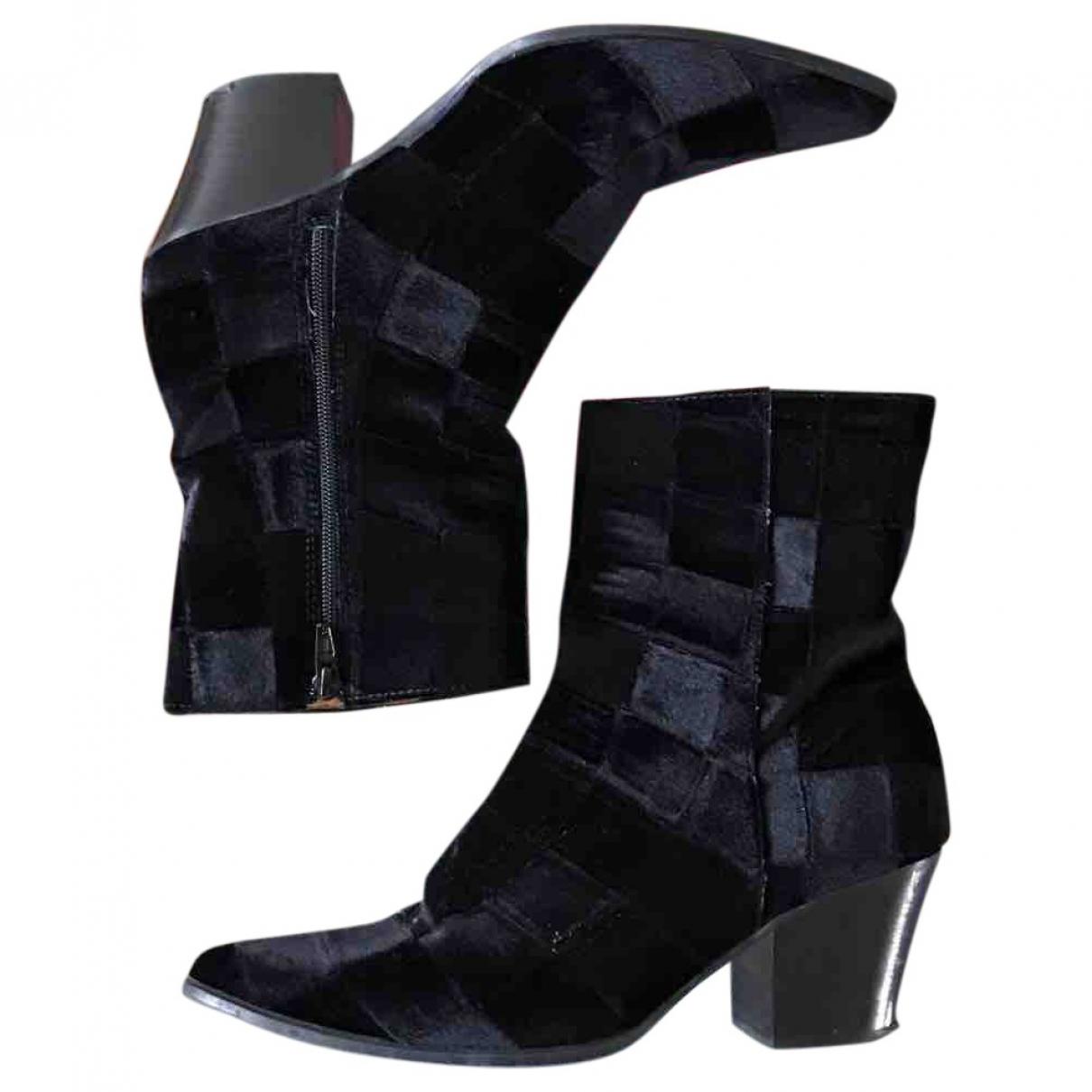 Miista - Boots   pour femme en velours - marine