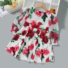 Babydoll Kleid mit Blumen Muster und Puffaermeln