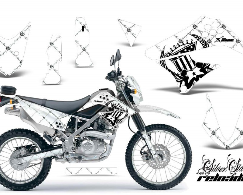 AMR Racing Graphics MX-NP-KAW-KLX125-10-16-SSR K W Kit Decal Sticker Wrap + # Plates For Kawasaki KLX125 2010-2016 RELOADED BLACK WHITE