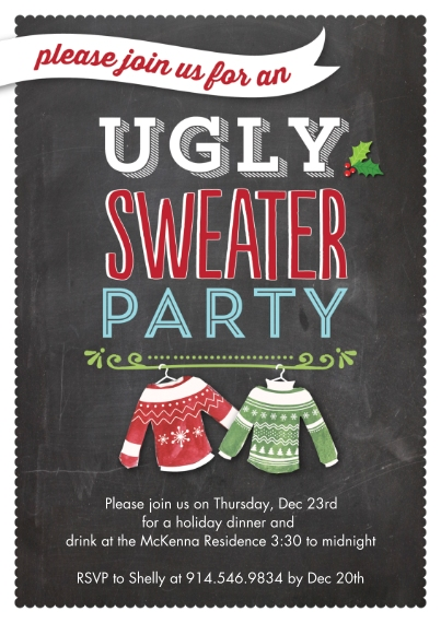 Christmas & Holiday Party Invitations Flat Glossy Photo Paper Cards with Envelopes, 5x7, Card & Stationery -Holiday Ugly Sweaters Party