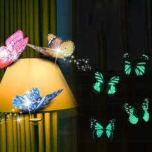 12 piezas pegatina de pared al azar de mariposa luminosa